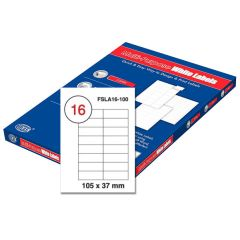 FIS FSLA16-100 Multi-Purpose Label - 105 x 37mm, White (Pack of 100) x 14