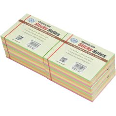 """FIS FSPO344C200 Sticky Notes - 3"""" x 4"""", Assorted Fluorescent Color, 200 Sheets x (6 Pads / Pack)"""