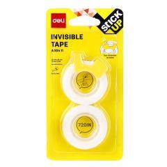 Deli A304 11 Invisible Tape W/ Dispenser - 12mm x 18.3m (Pack of 2)