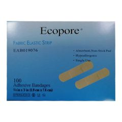 Ecopore EAB019076 Fabric Elastic Strip Adhesive Bandages - 1.9cm x 7.6cm (Pack of 100)