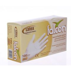 Falcon Latex Examination Gloves with Powder, Small (Pack of 100)