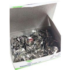 FIS FSDPS1 Thumb Pins / Drawing Pins - Silver, 100 Pins/Pack