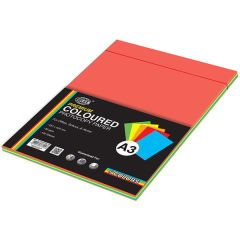 FIS FSPWA3P5C100 Premium Assorted Color Photocopy Paper - 80gsm, A3, 100 Sheets