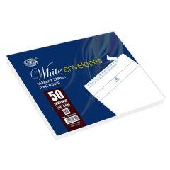 FIS FSWE1026P50 Peel & Seal White Envelope - 100gsm, C5 (Pack of 50)