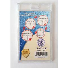 Sadaf SDF-738V Water Proof ID Card Holder - Vertical, 85 x 55mm, Clear