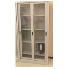 MAZ MF 0245 Full Height Glass Sliding Door Cabinet - 1850()H x 900(W( x 440(D)mm, Grey