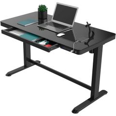 MHM EG8/EW8 All-In-One Height Adjustable Standing Desk with USB Charging, Black