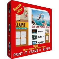 KLAPiT Limited Offer - Free White Photo Frame & Photo Paper with KLAPiT 4 Pieces Pack