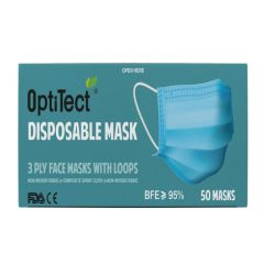OptiTect Disposable Face Mask with Loops, 3 Ply (Pack of 50)