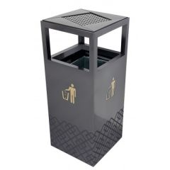 Brooks BKS SS ASH 251 Outdoor Square Metal Bin with Ashtray