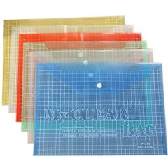 Sadaf SDF209A Clear Bag - A4, Assorted Color (Pack of 12)