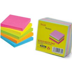 """Stick Notes T1 - 3"""" x 3"""", Neon Colours, 400 Sheets (Pack of 5)"""
