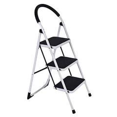 UpSpirit Household 3-Step Ladder - 150 Kg Capacity, White
