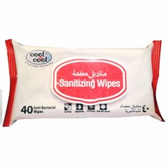 Cool & Cool Anti-Bacterial Sanitizing Wipes, 40 Wipes