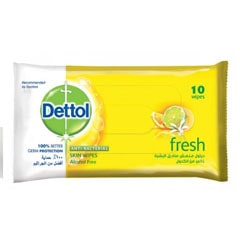 Dettol Anti Bacterial Fresh Skin Wipes (Pack of 10)