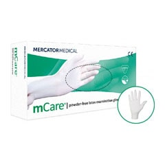 mCare Powder Free Latex Examination Gloves, Large (Pack of 100)