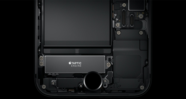 The Taptic Engine makes it feel like a click when the pressure is applied on the button